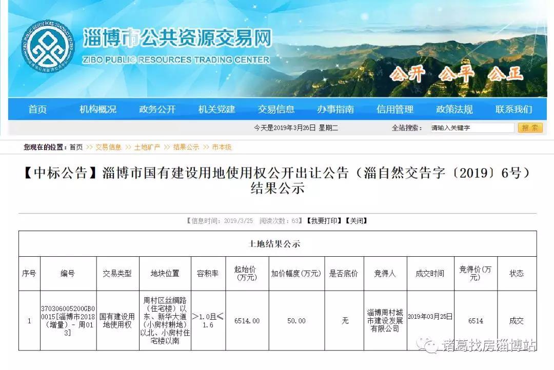 150万/亩 淄博周村城市建设发展有限公司周村拿地 整体规划不明