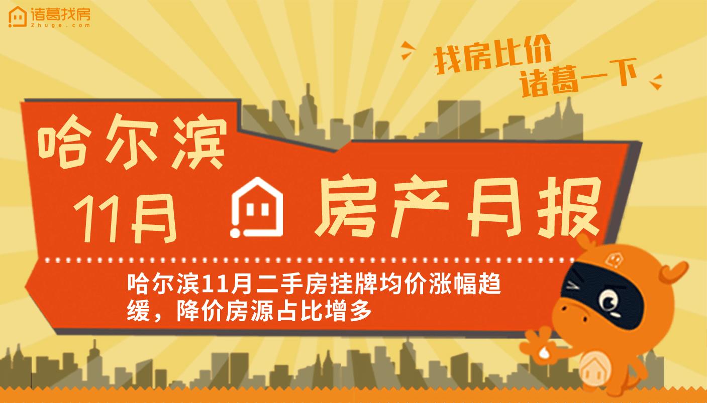 月报:哈尔滨二手房挂牌均价涨幅趋缓,降价房源占比增多