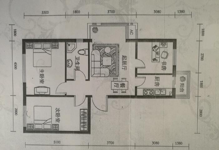 铁东恒治新东方多层5住2三室90平米