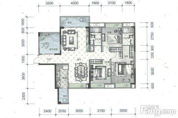 出售鼎峰源著4房2厅毛坯朝南售价355万二手房