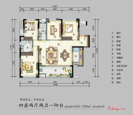 出售万科金域华府二期4房2厅精装修朝南售价380.0万二手房