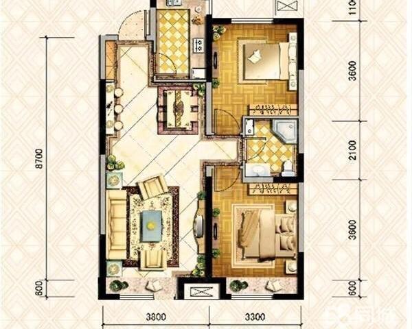 金地·铂悦2室2厅1卫90.31㎡二手房