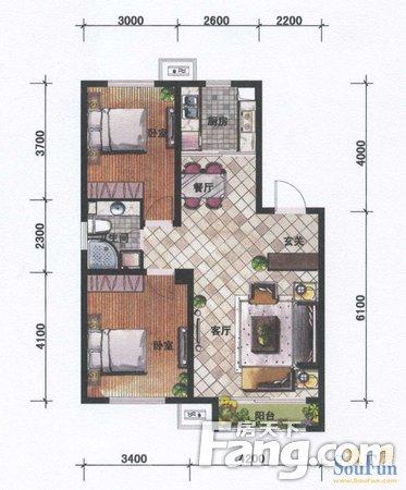 浑南新区奥体中心坤泰新界2室2厅1卫92.99平米二手房
