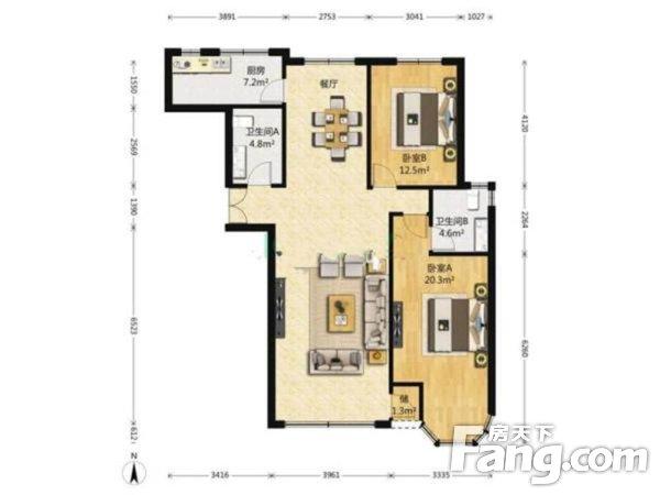 金水花城精装修南北两居室主卧卫生间带窗户二手房