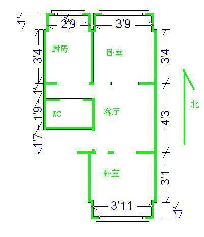 北苑小区 2室1厅1卫 简装修  二手房