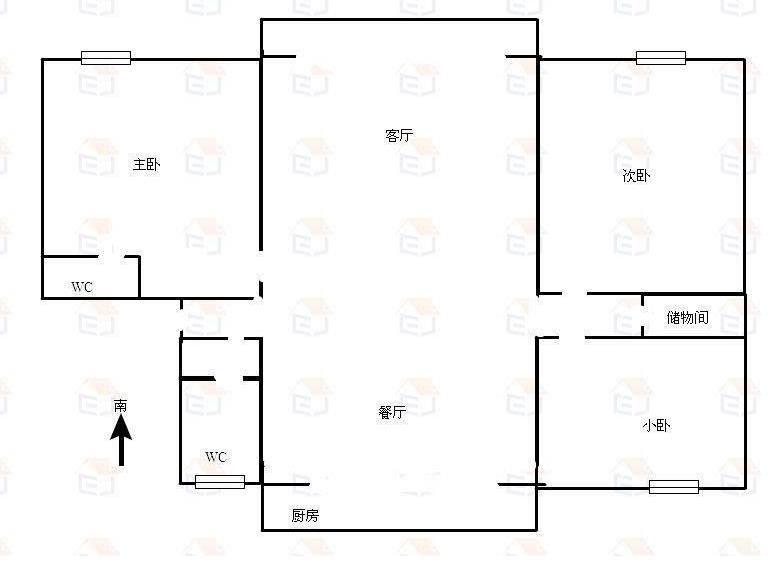 多层板楼,一梯两户,此房在三楼出行方便二手房