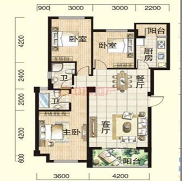水域天际三室两厅二手房
