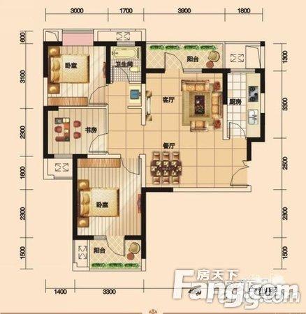 福星惠誉福星城毛坯三房,户型方正2号线中间楼层,二手房