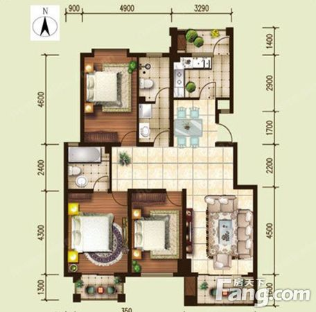房天下梅南山居,精装三房,129平米只卖105万,二手房