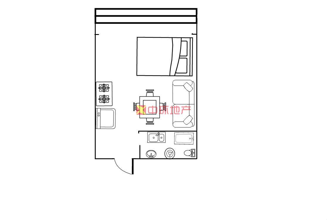 亚太明珠直接改合同一房一厅中等装修二手房