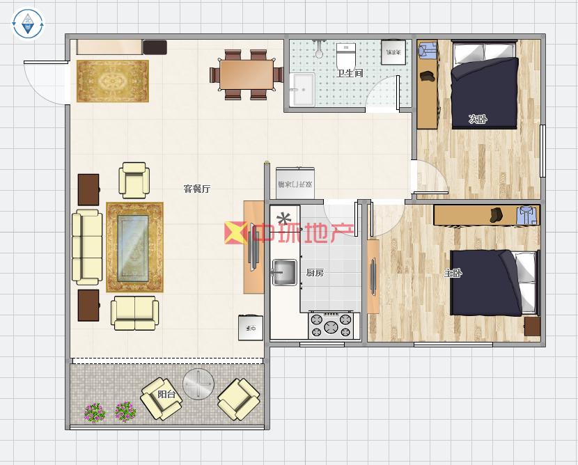 客厅朝南带阳台,采光明亮,房子空间足二手房