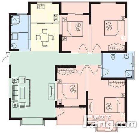 客厅朝南,绿洲云顶,通透四房,双气地暖,精装修满五年!二手房